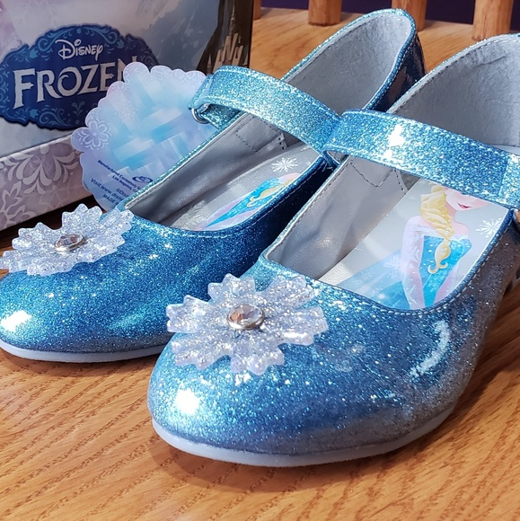 Silver Glitter Various Sizes! Toddler Disney Frozen Dress Heel Shoes NEW